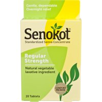 Senokot Regular Strength, 20 Tablets, Natural Vegetable Laxative Ingredient senna for Gentle Dependable Overnight Relief of Occasional Constipation