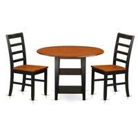 East West Furniture SUPF3-BCH-W 3 Piece Sudbury Set, Black & Cherry
