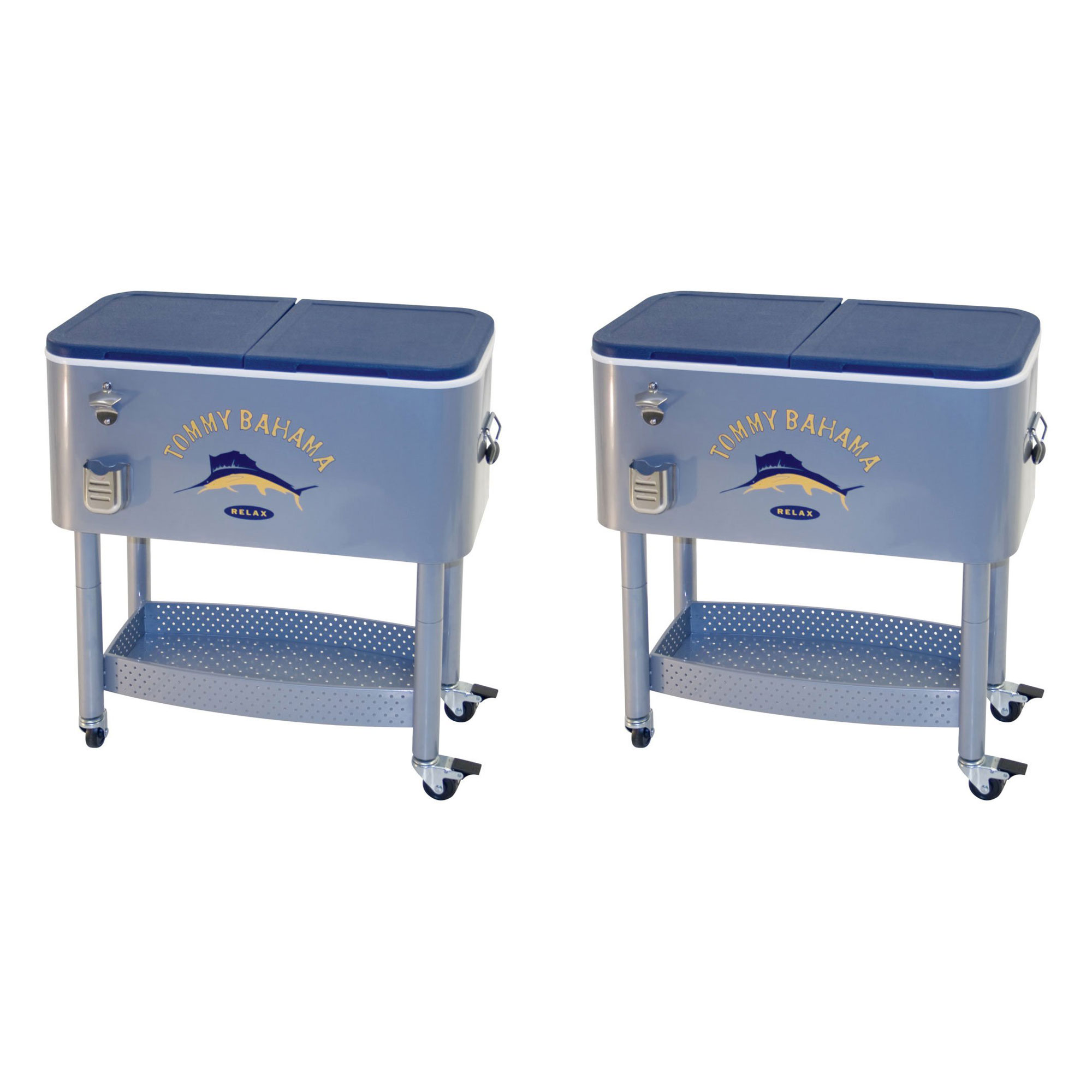 Tommy Bahama The Entertainer 77 Qt Rolling Portable Patio Party Cooler (2 Pack)