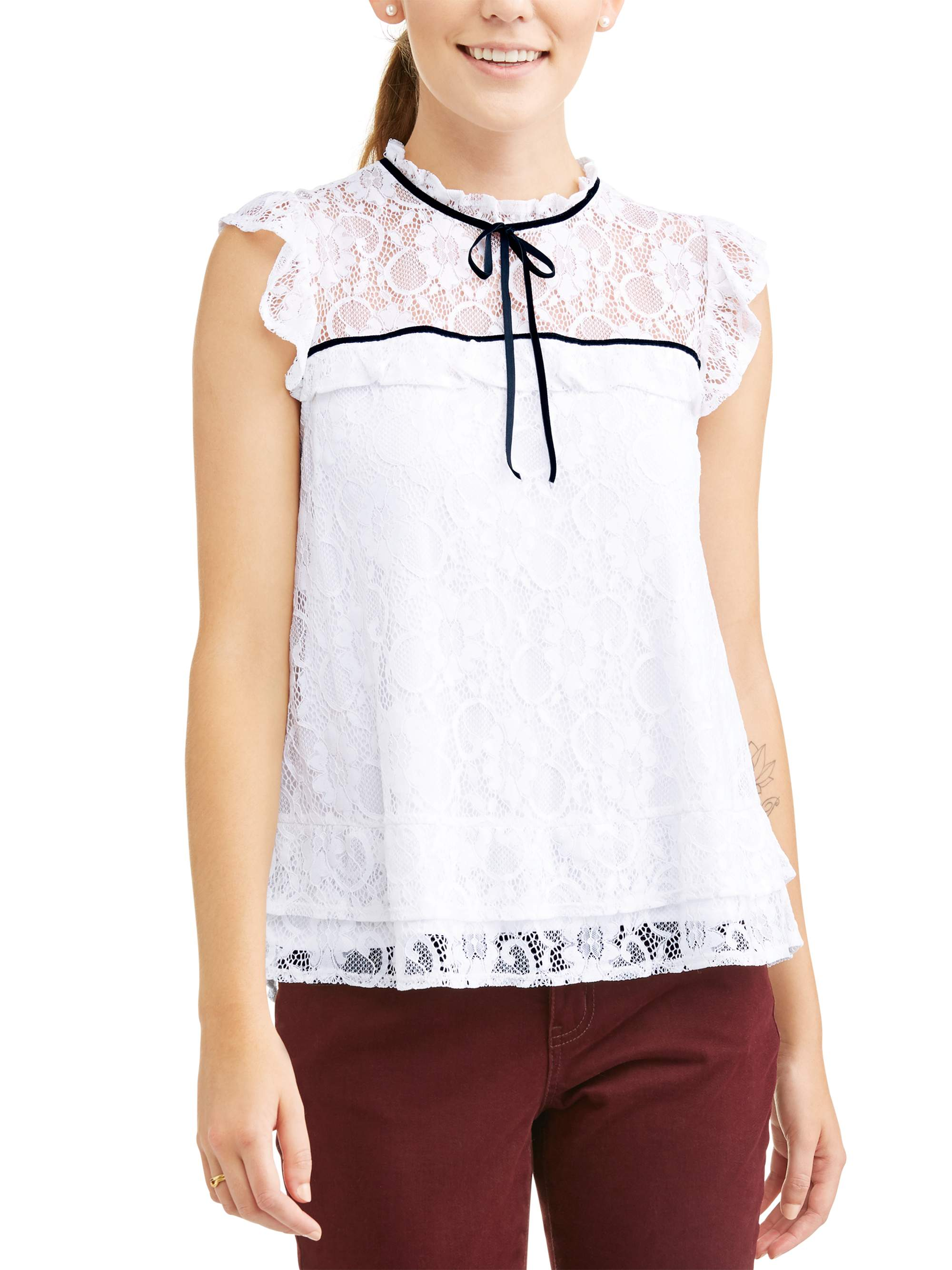8501be916285c1 Alison Andrews - Women's High Neck Ruffle Lace Short Sleeve Top -  Walmart.com