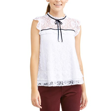 - Women's High Neck Ruffle Lace Short Sleeve Top