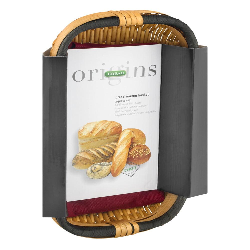 Italian Origins Bread Basket with Warming Stone Set, 3-Piece ...