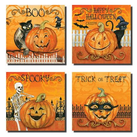 4 Happy Halloween Jack O'Lanterns; Four 8x8 Mounted Prints, Ready to Hang! White/Orange/Black - Happy Halloween To Print