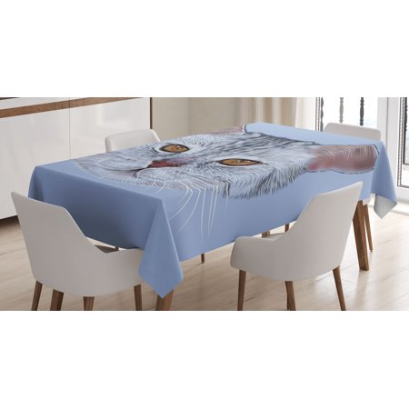 Cat Tablecloth  Scottish Straight Kitty Portrait Pet Lovely Companion Hipster Animal Graphic  Rectangular Table Cover For Dining Room Kitchen  60 X 90 Inches  Light Grey Baby Blue  By Ambesonne