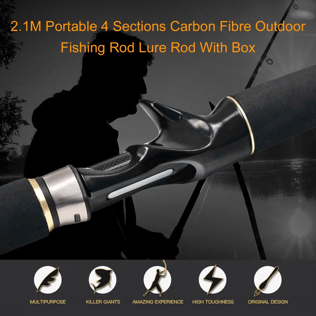 2.1M Portable 4 Sections Carbon Fibre Outdoor Fishing Rod...