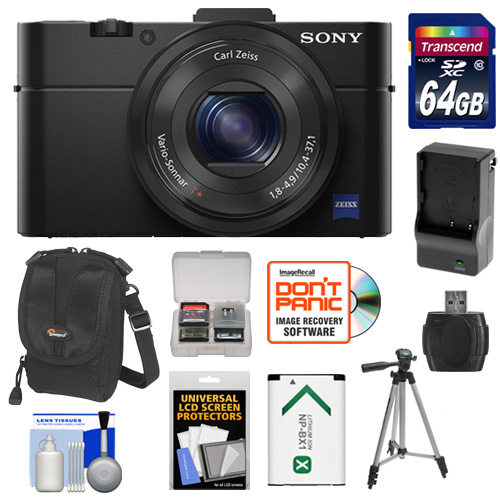 Sony Cyber-Shot DSC-RX100 II Wi-Fi Digital Camera (Black) with 64GB Card + Battery & Charger + Case + Tripod + Accessory Kit