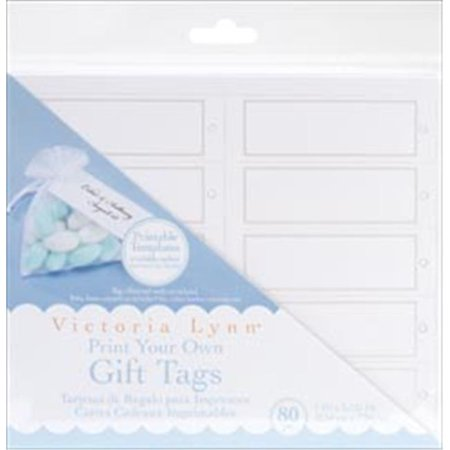 202458 Print Your Own Gift Tags 1 in. x 3.125 in. 80-Pkg-White Rectangle with Pearl Accent