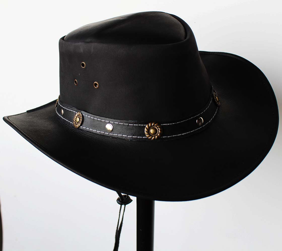 841ab5f21c694 ... discount m horse western cowboy indiana jones crushable oiled leather outback  hat 24h03 2713f 10cea