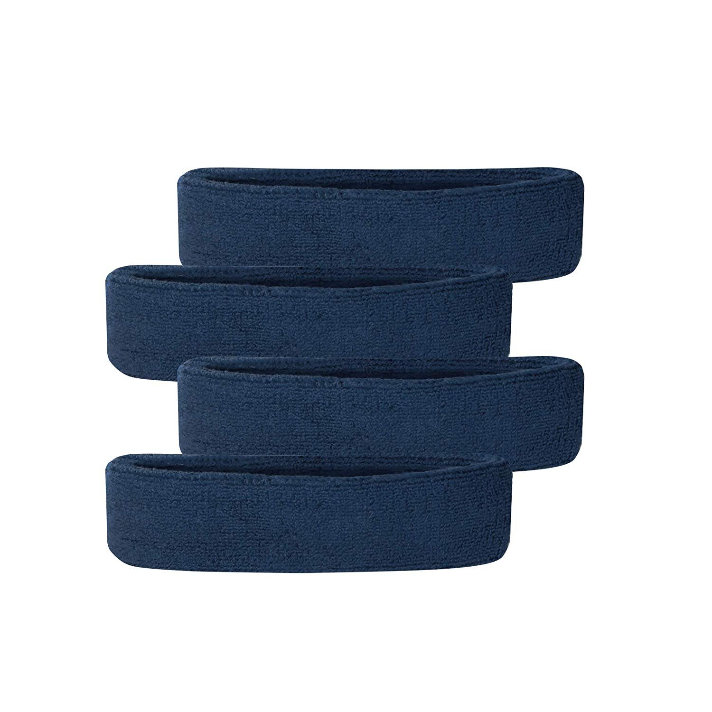 Lot of 3 Terry Cloth Headband Sweatband Yoga Running Tennis Exercise Navy Blue