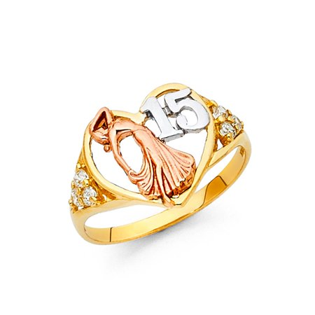 14k Tri Colored Italian Gold 12mm Love Dolphin Heart Quinceanera 15 Anos with Round Cubic Zirconia Ring Size 7.5 Available All Sizes