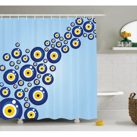 Evil Eye Shower Curtain Diagonal Pattern Lively Protection Symbol Turkish Cultural Fabric Bathroom Set With Hooks Blue Pale Yellow