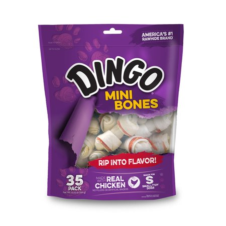Dingo Mini Bones - Dingo Mini Bones, Rawhide for Small or Toy Dogs, Made w/Real Chicken (35 Count)