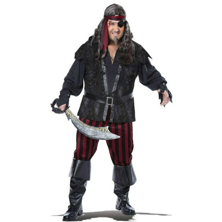Ruthless Pirate Rogue Men's Plus Size Adult Halloween Costume, XL