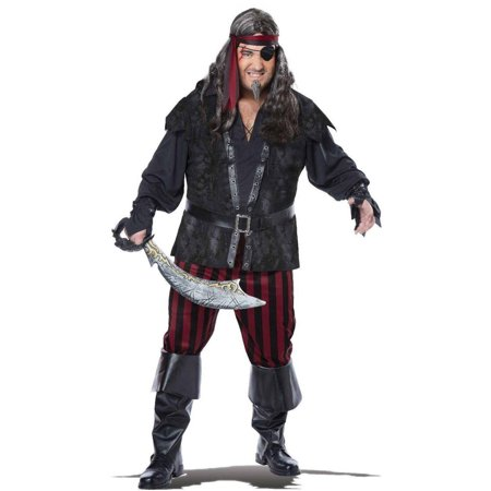 Mens Plus Size Pirate Costume (Ruthless Pirate Rogue Men's Plus Size Adult Halloween Costume,)