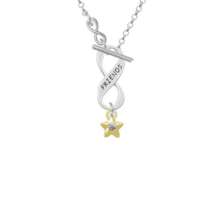 Mini Gold Tone Star With Clear Crystal   To Infinity Friends Toggle Necklace