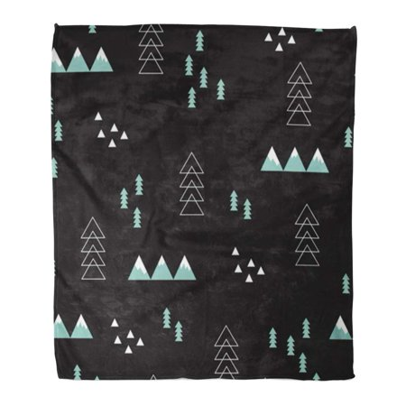 600 Denier Turnout Blanket (SIDONKU Throw Blanket 50x60 Inches Winter Wonderland Geometric Night Abstract Christmas Tree Mountains and Snow Warm Flannel Soft Blanket for Couch Sofa Bed)
