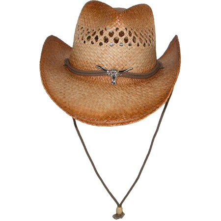 Men's Raffia Cowboy Hat with Longhorn Concho,  Tan (Tan Raffia)