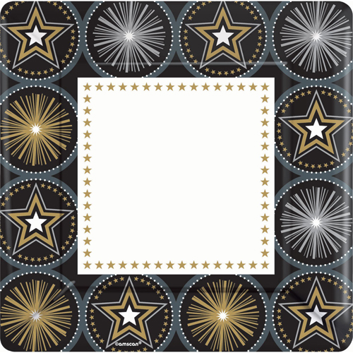 Hollywood 'Glitter Starz' Extra Large Paper Plates (8ct)