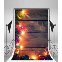 GreenDecor Polyster 5x7ft Merry Christmas Backdrop Candy Cane Shining Balls Lamps Grunge Stripes Wood Floor Xmas Photography Background Kids Adults Photo Studio Props