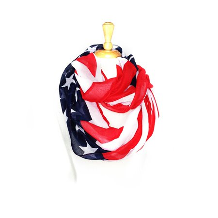 Paskmlna® USA Patriotic American Flag Lightweight Infinity Scarf Blue Red (Explain The Red Scare In America After Ww1)