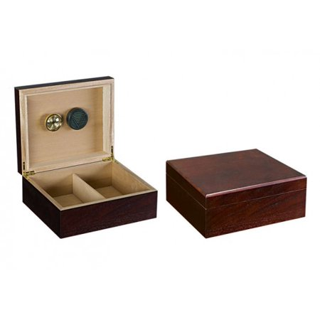 Chardonnay Desktop Cigar Humidor - Authentic Dark Walnut Finish - Capacity: 25 to 50
