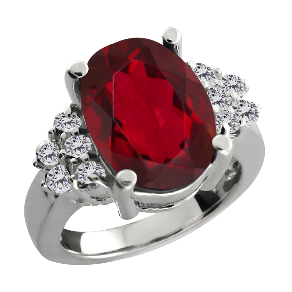 4.48 Ct Oval Ruby Red Mystic Quartz White Diamond Sterling Silver Ring