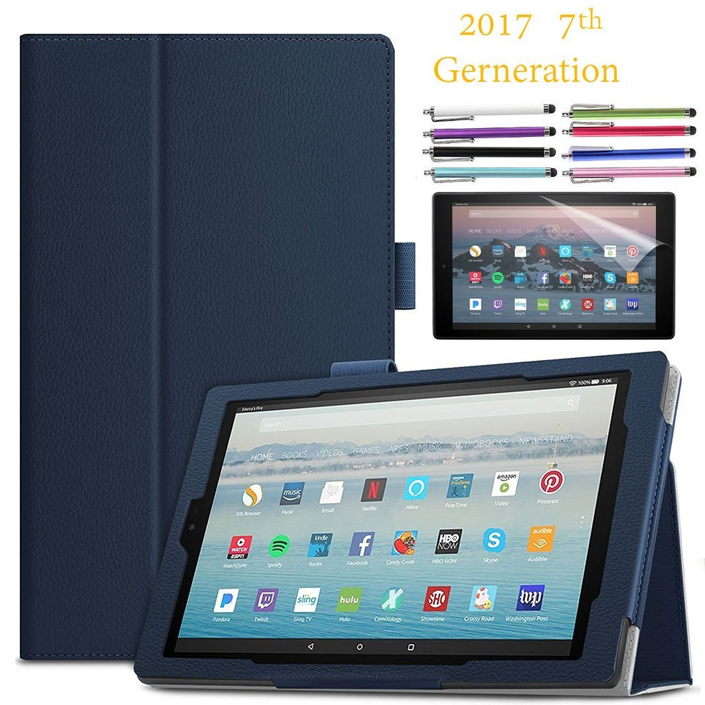 "EpicGadget Amazon Fire HD 10"" Case (2017) With Auto Sleep/Wake, Fire HD 10 7th Gen Stand Lightweight Cover PU Leather Case For 2017 Fire HD 10 + 1 Screen Protector and 1 Stylus (Navy Blue)"