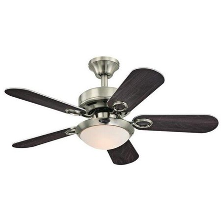 Cassidy 36 in. Reversible Five Blade Indoor Ceiling Fan with Light, Brushed Nickel ()