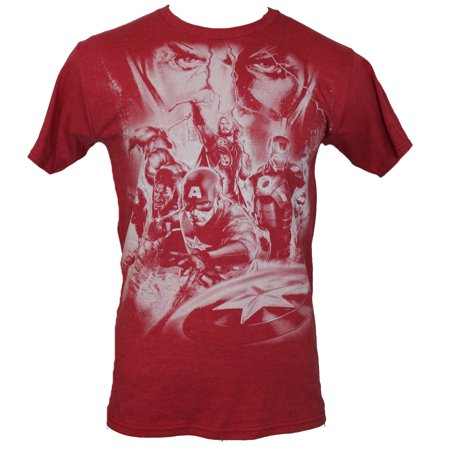 The Avengers (Marvel Comics) Mens T-Shirt - Giant Distressed White Cast Image for $<!---->
