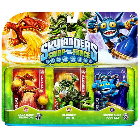 Skylanders Swap Force Triple Pack #1 (Lava Barf Eruptor, Slobber Tooth, Super Gulp Pop Fizz - Universal) - Skylander Stickers
