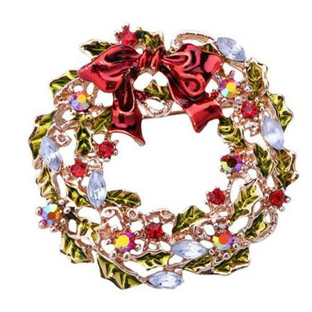 AkoaDa Christmas Brooch Pin Tree Santa Boots Snowman Sleigh Bell Deer Bells Wreath Boutonniere Birthday Gifts ()