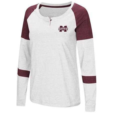 Womens Mississippi State Bulldogs Long Sleeve Raglan Tee Shirt - - Mississippi State Bulldog