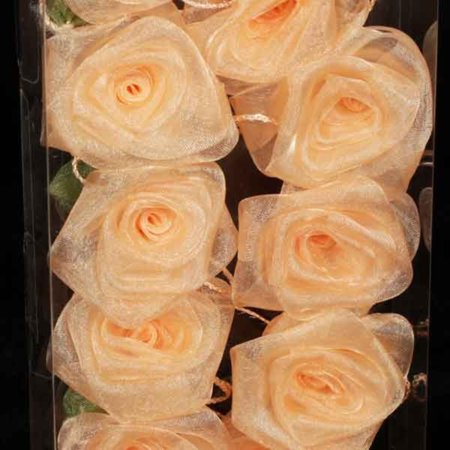 Club Pack of 6 Elegant Peach Rose Flower Wired Craft Garland...