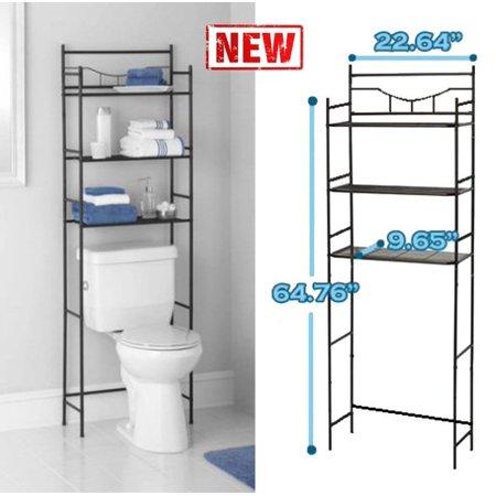 3 shelf over the toilet bathroom space saver organizer metal towel storage rack. Black Bedroom Furniture Sets. Home Design Ideas