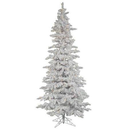 Vickerman Pre-Lit 9' Flocked White Slim Artificial Christmas Tree, LED, Warm White Lights ()