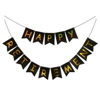 KABOER Happy Retirement Party Decoration Banner Bunting Supplies Favors Gift Black