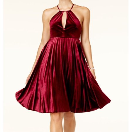 Endless Rose NEW Maroon Red Womens Large L Velvet Pleated A-Line Dress