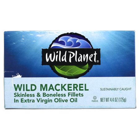 (4 Pack) Wild Planet Skinless Boneless Wild Mackerel Fillets in Organic EVOO, 4.4 oz