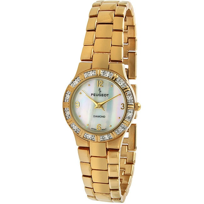 Peugeot  Women's Round Goldtone Genuine Diamond Watch