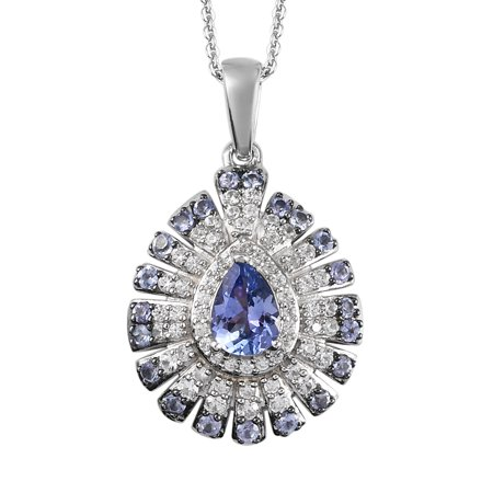 """Shop LC 925 Sterling Silver Pear Blue Tanzanite Zircon Cluster Necklace Platinum Plated Pendant Wedding Bridal Anniversary Engagement Jewelry For Women Size 20"""" Ct 1.4"""