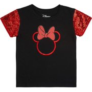 Minnie Mouse Girls' Sequin Short Sleeve T-Shirt - Disney (L-10/12) Red