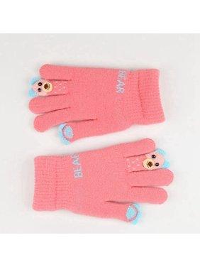 AkoaDa High Quality Winter Children's Fingers Warm Knitted Gloves Girls Carton Bear Double Layer Plus thicken Velvet Gloves For Kids