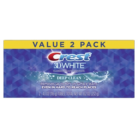 Crest 3D White, Whitening Toothpaste Deep Clean, 4.1 oz, Pack of 2