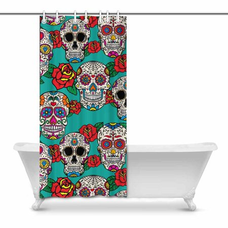 POP Sugar Skulls and Roses Modern Art Shower Curtain 36x72 inch - image 1 of 1