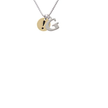 Goldtone Disc 1 2   Symbol   Exclamation Point       Capital Initial G Necklace