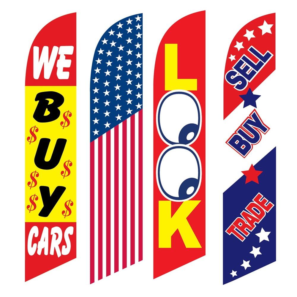 4 Advertising Swooper Flags We Buy Cars America Look Sell Buy Trade