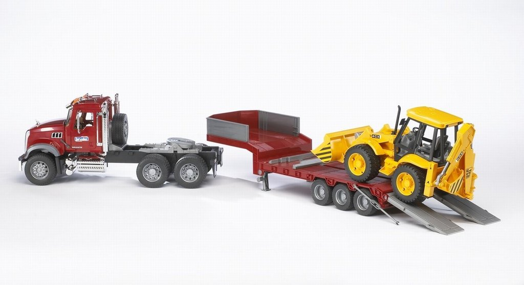 Bruder Mack Granite Flatbed Truck with JCB Loader Backhoe by Bruder