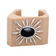 Black Agate Solstice Bangle Cuff Bracelet in Sterling Silver