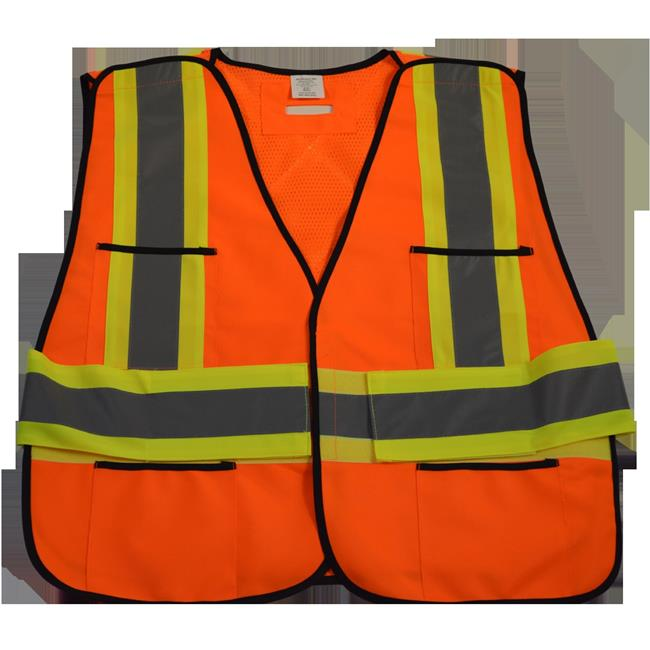 ANSI & CSA Public Safety Vest Solid Front Mesh Back, X On Back - Plus 2X & 5X