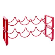 4 Bottle Red Stackable Wine Rack, Set of 2
